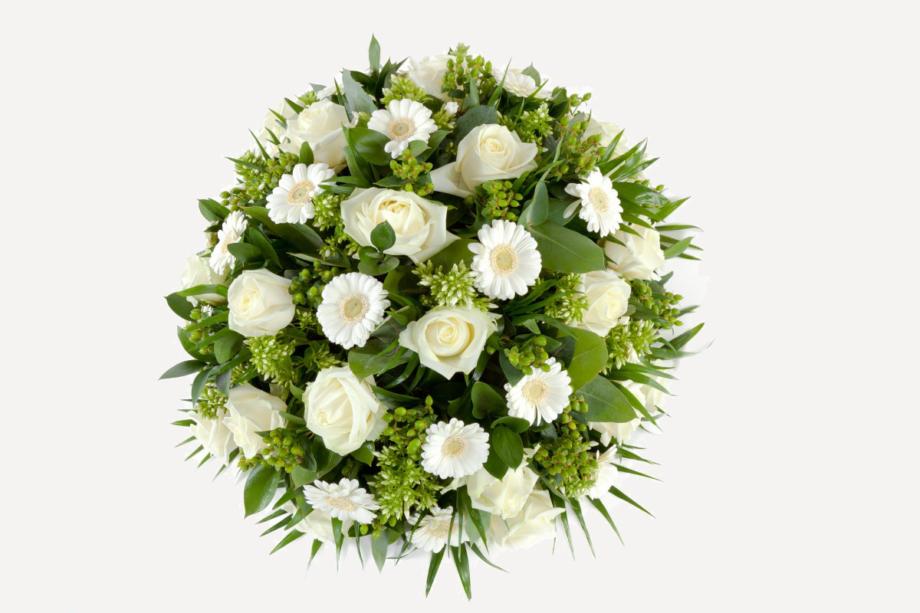 veel liefs rouwboeket wit
